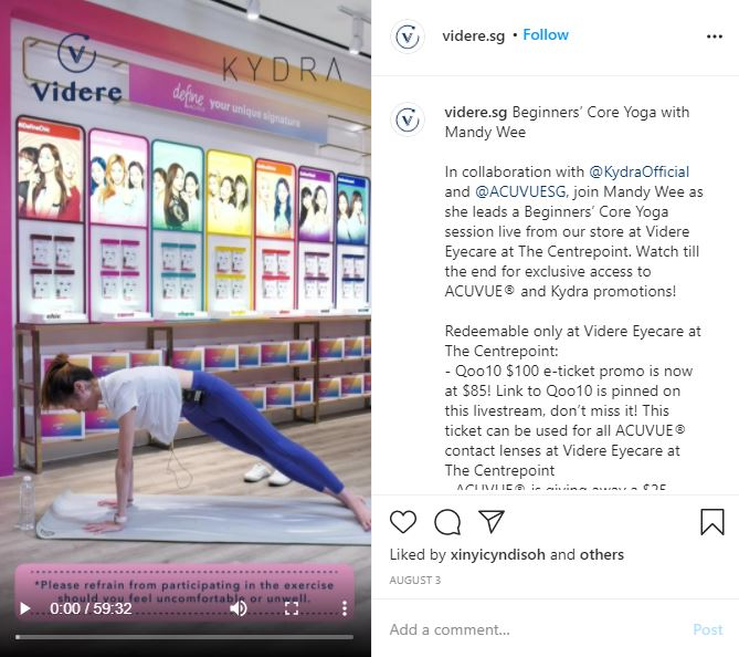 Videre had a Instagram live in collaboration with Kydra and Acuvue